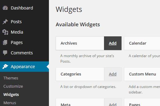 Các loại widget cho website