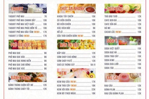 menu quán ăn vặt
