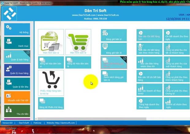 Phần mềm quản lý bán hàng miễn phí Dân Trí Soft