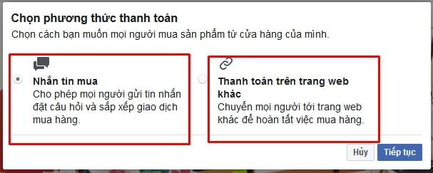 2 hình thức thanh toán khi đăng ký bán hàng trên fanpage facebook