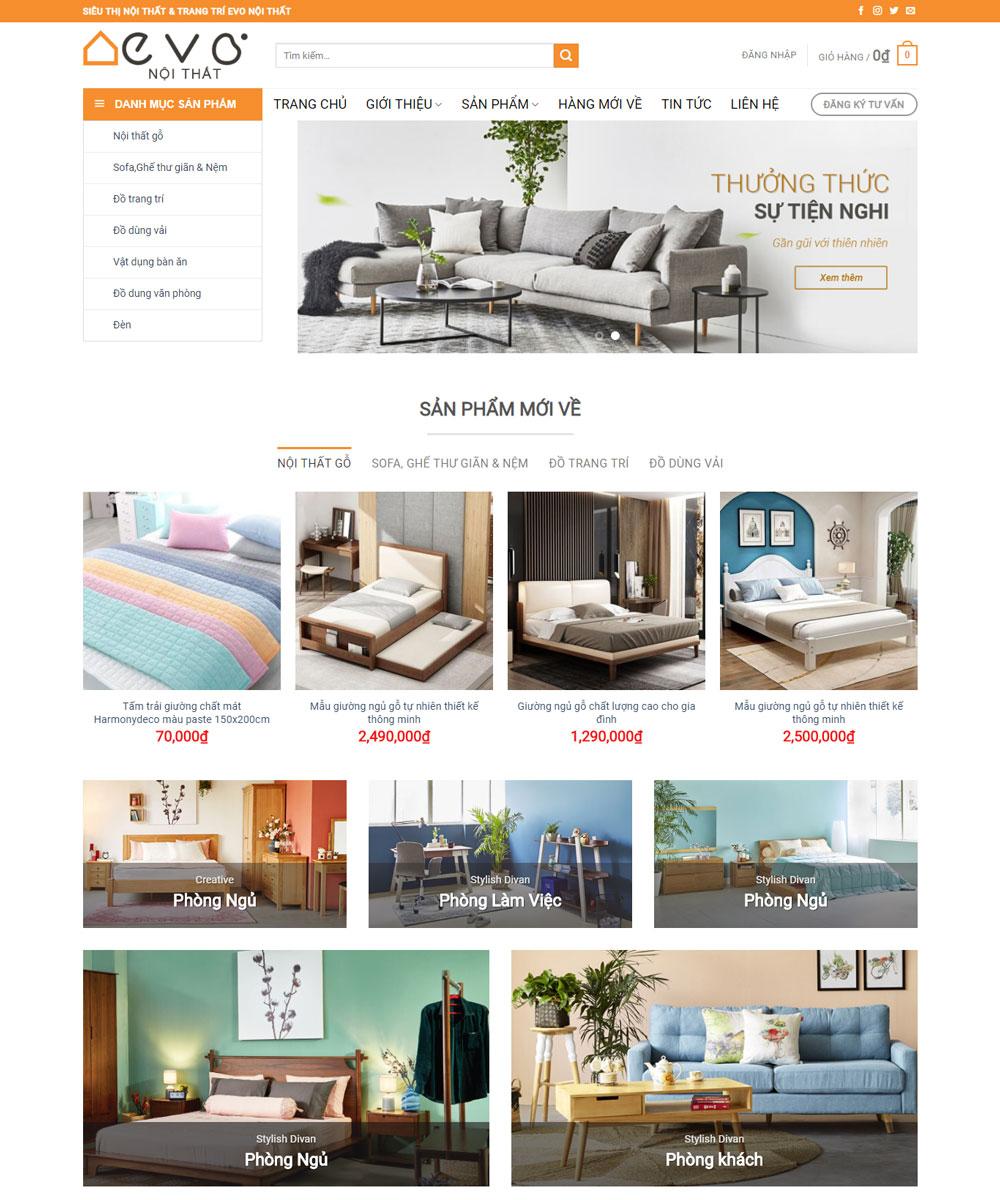 Mẫu thiết kế website nội thất Evo đẹp nhất hiện nay
