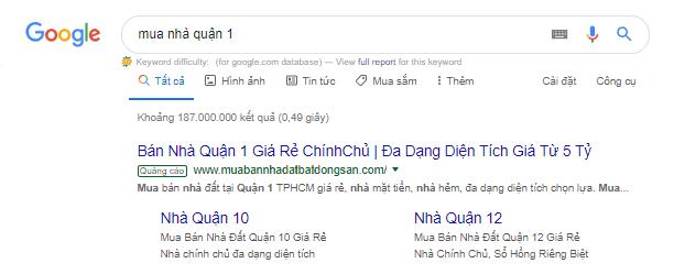 Google Search ads hiển thị khi người dùng thực hiện tìm kiếm về sản phẩm dịch vụ