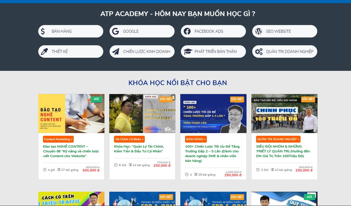 TQ - Giảm giá đến 70% các khóa học marketing và kinh doanh tại ATP Academy  | theNEXTvoz