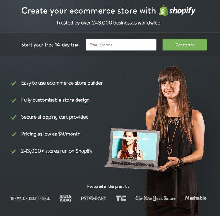 Mẫu landing page bán hàng Shopify