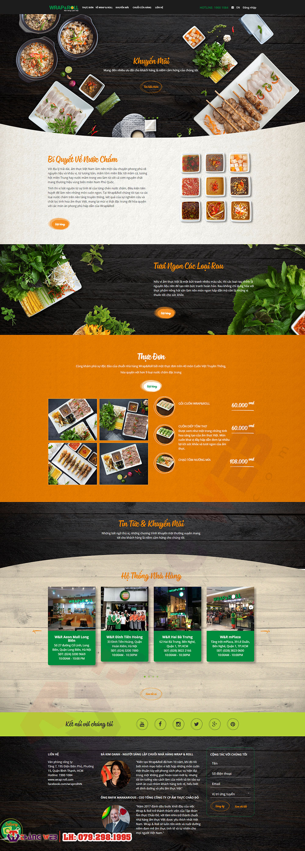 Mẫu website ẩm thực nhà hàng Wrap & Roll TW03 - Thắng Web