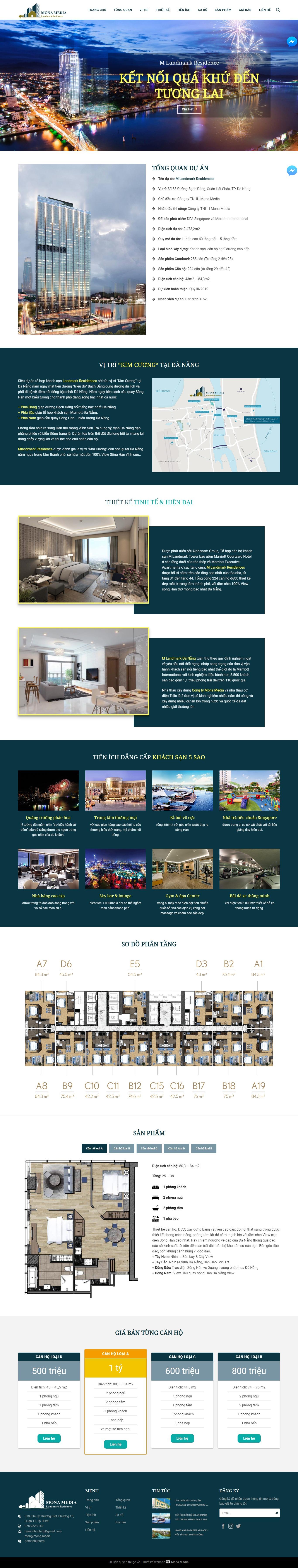Mẫu landing page giới thiệu dự án bất động sản MLandmark Residence