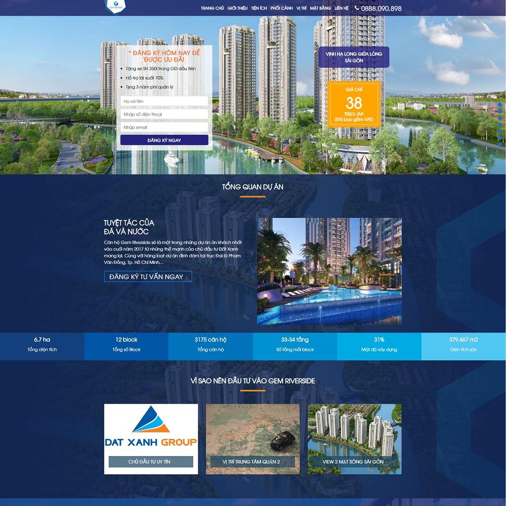 Landing page WordPress bất động sản dự án GemRiverside