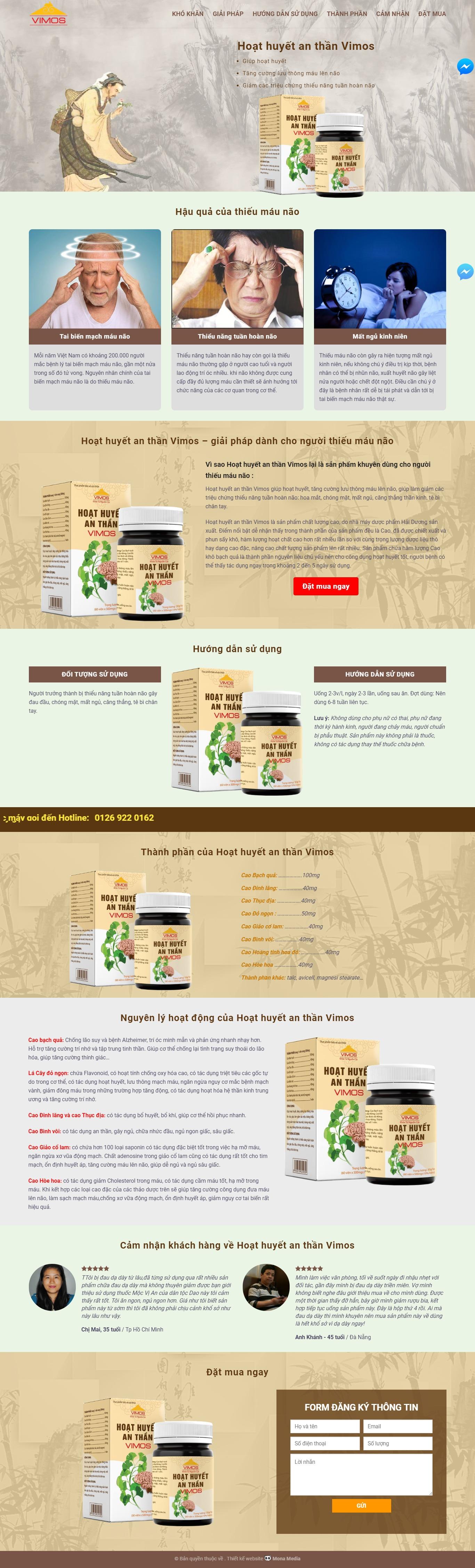 Mẫu website landing page giới thiệu sản phẩm đông y Vimos - MonaMedia