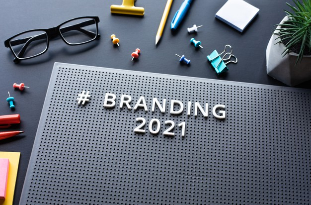 Branding 2021 text on modern desk.business creativity.marketing and strategy to success.no people Premium Photo