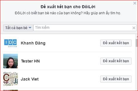 Cách đề xuất kết bạn trên Facebook