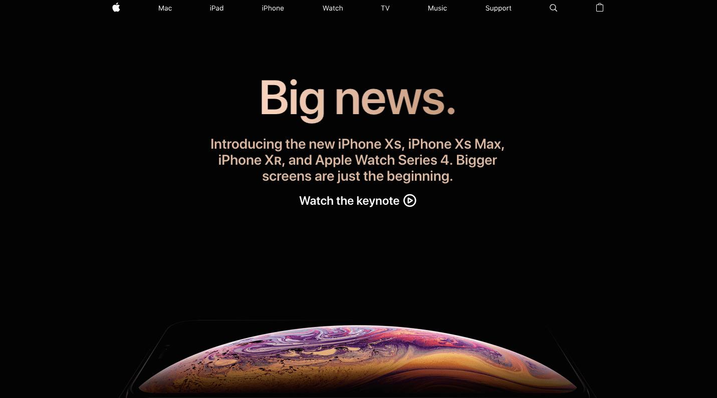 Website của Apple cho thấy sự tối giản nhưng tạo thuận tiện cho khách hàng (Nguồn: Apple)
