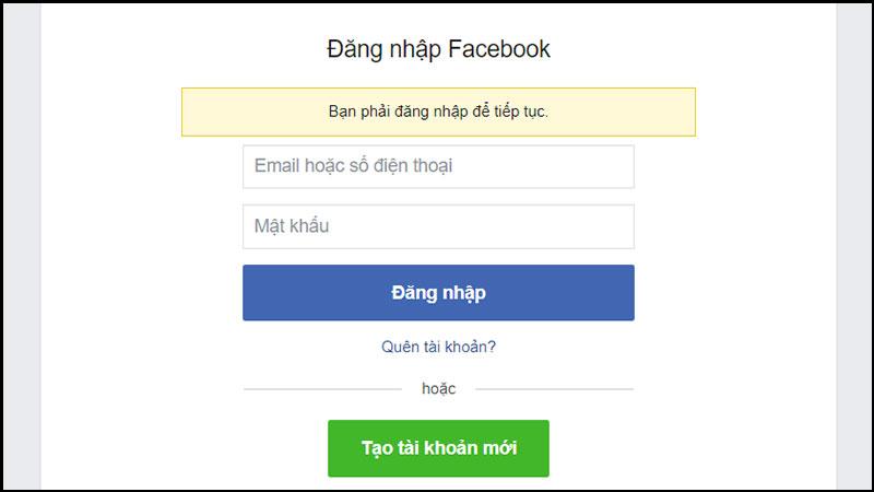 Đăng nhập tài khoản facebook vào trình duyệt website