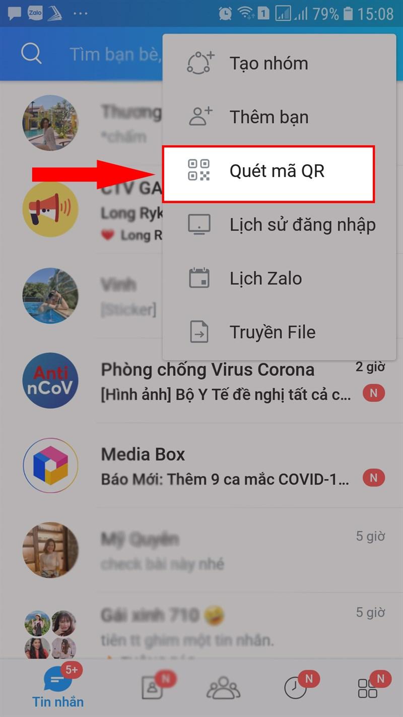 Chọn quét mã QR