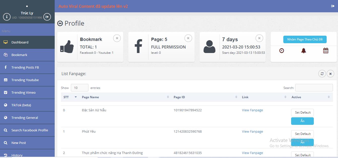 Giao diện công cụ tự động tìm content