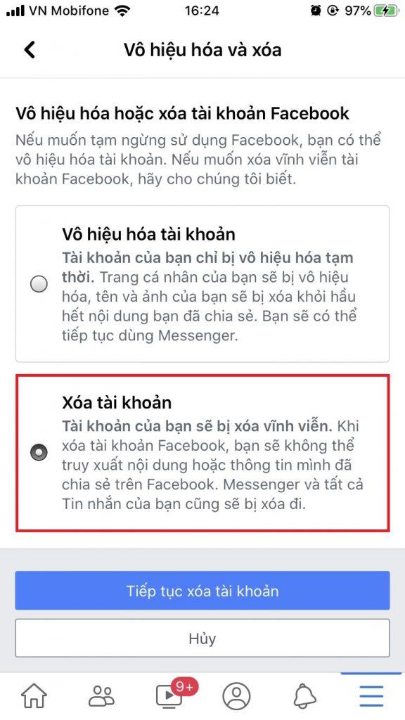Cách xóa tài khoản facebook trên điện thoại vĩnh viễn