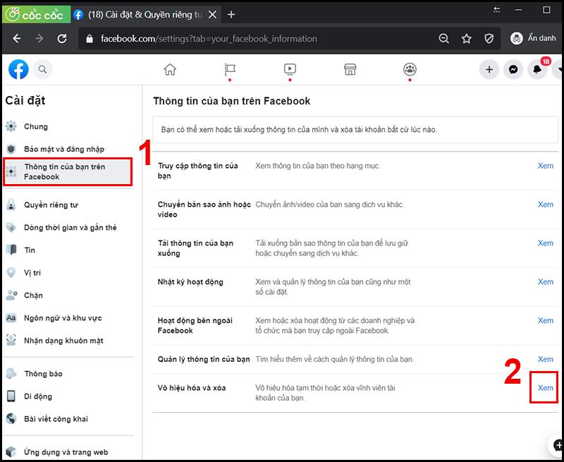 Thông tin của bạn trên Facebook > Vô hiệu hóa và xóa