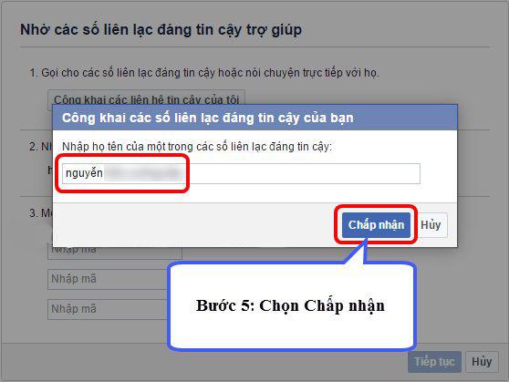 Nhập tên của 3 tài khoản Facebook đáng tin cậy