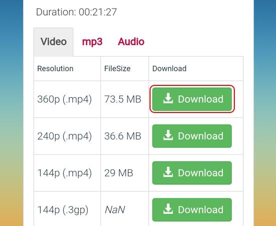 """Chọn chất lượng video (thường là 360 (.mp4)), rồi nhấn """"Download"""""""