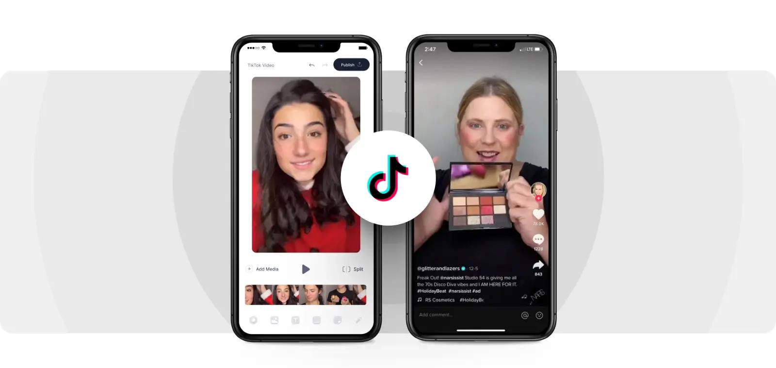 Và chia gương mặt thành 2 nửa, một bên khuôn mặt gốc và một bên được dùng filter mỹ phẩm trang điểm. Khi bạn nhấn vào màn hình sẽ chuyển sang chế độ màn hình sáng. Chúng ta quay clip như thông thường rồi nhấn dấu tích để chọn clip đăng lên.